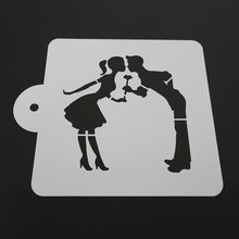 LUC 5 Inch Eco-Friendly Plastic Kissing Lovers Cake Stencil Cake Decoration Baking Mold(China)