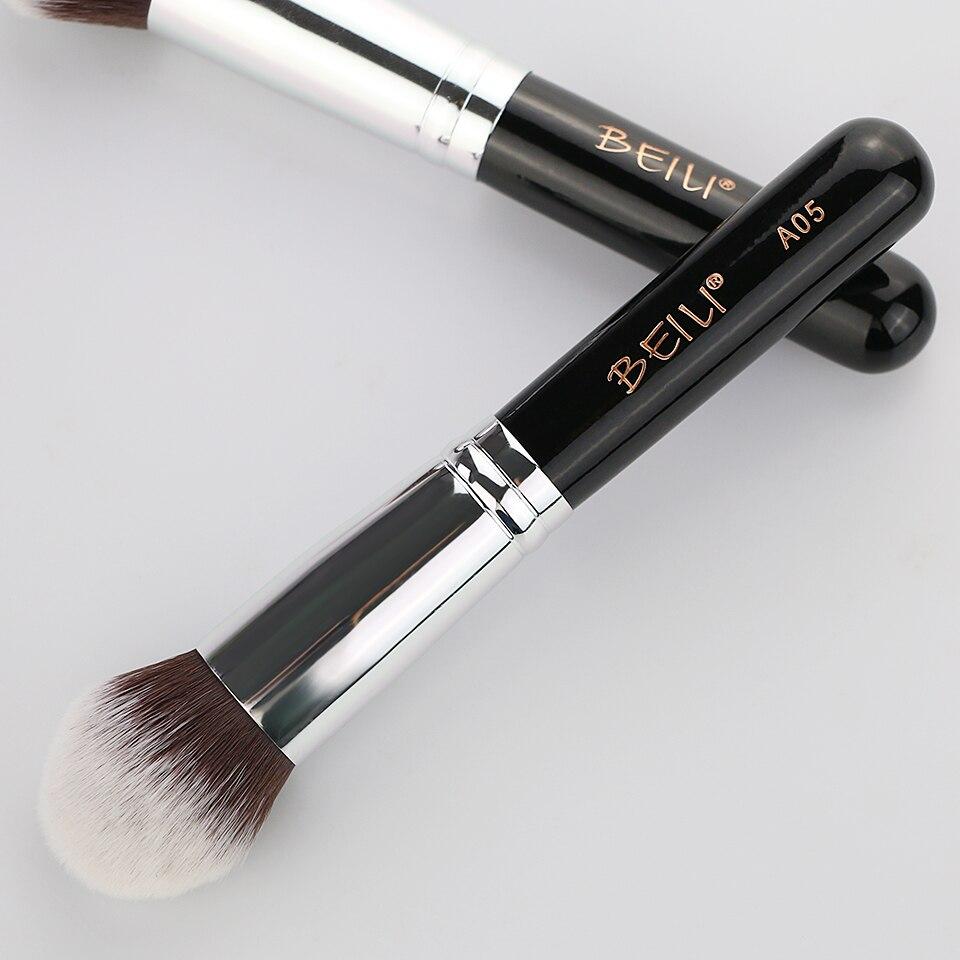 BEILI 1Pc Kabuki Soft Dense Grey Synthetic Hair Powder Foundation Blusher Contour Makeup Brushes 14