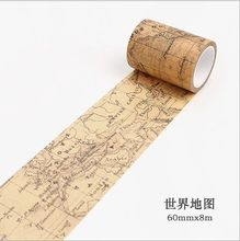 60mm wide Vintage hemisphere map of world travel gothic decoration scotch washi tape DIY diary planner scrapbook masking tape