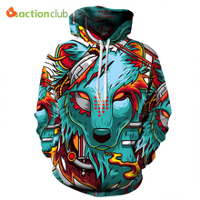 ACTIONCLUB 2017 Spring New Fashion Mens Hoodies And Sweatshirts 3D Print The Wolf Demon Coats HipHop Coats Casual Sportswear