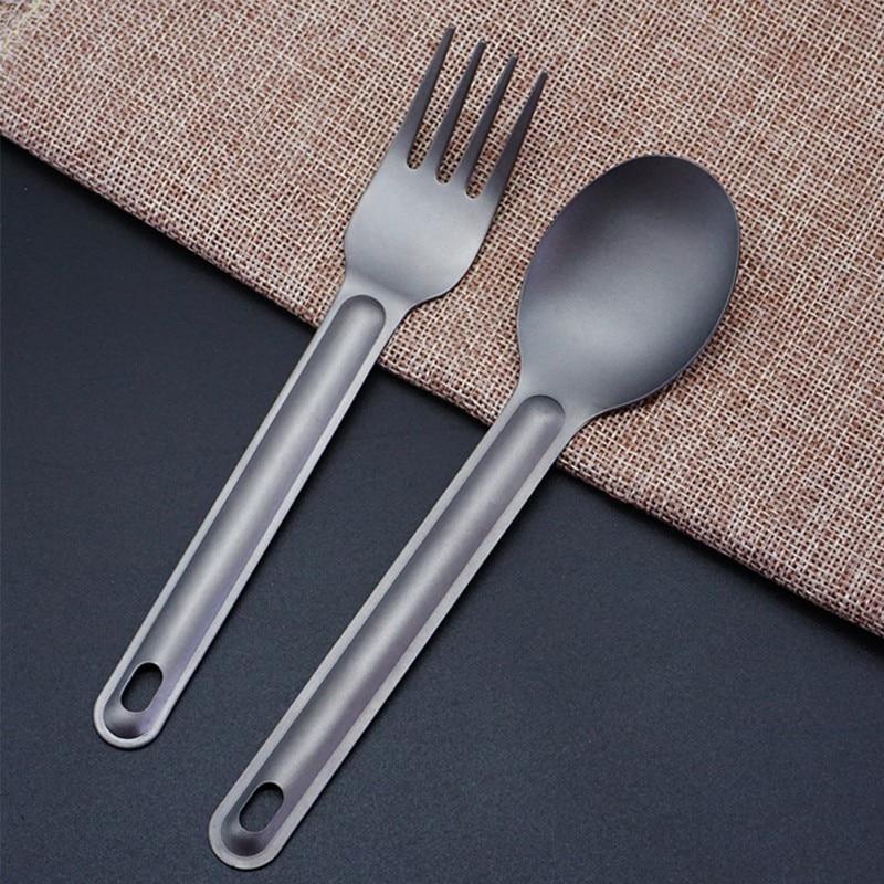 Pure Titanium Premium Folding Camping Fork Spoon 3pcs Set Outdoor Cooking Tools