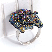 Unique Natural Stone Rock Crystal Quartz Rings For Women Druzy Drusy Wedding Crystal Stone Angel Ouro Gold adjustable rings