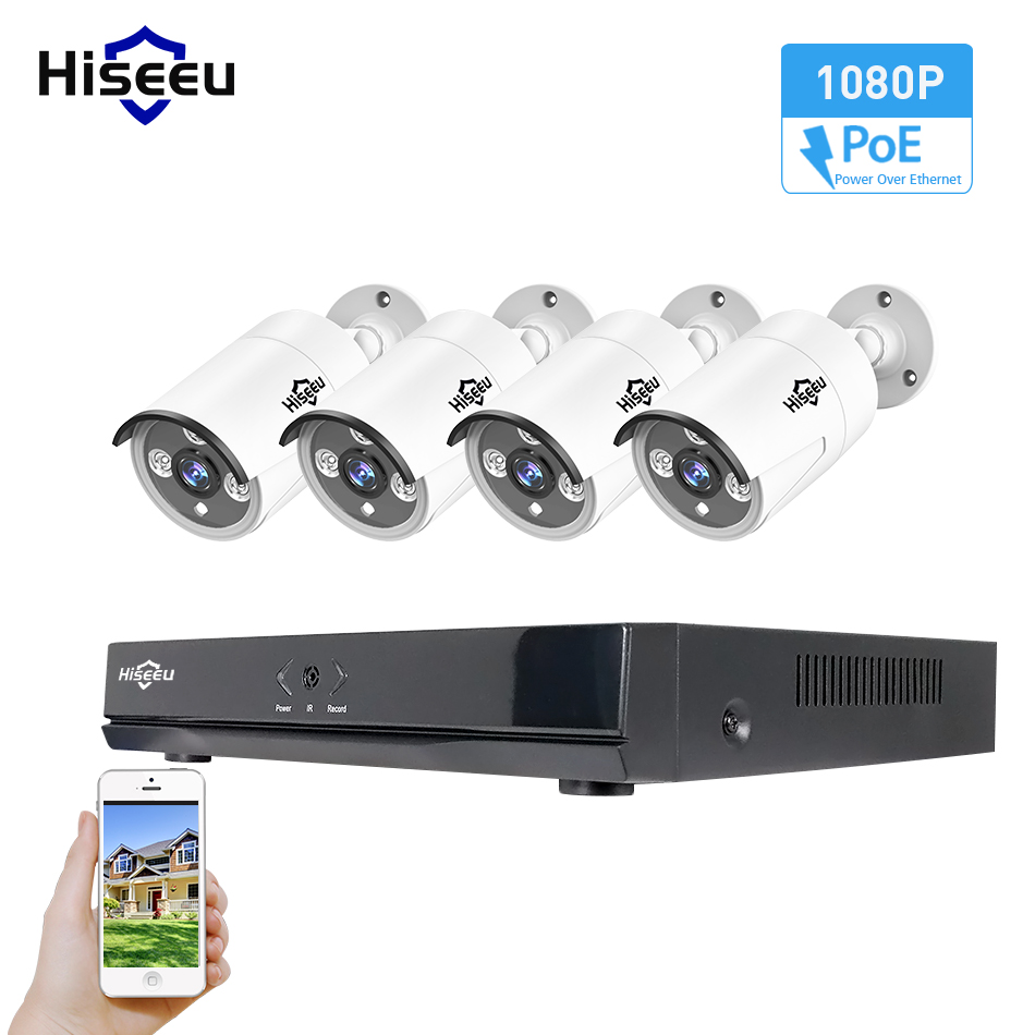 Hiseeu 4CH 1080P 48V POE NVR Kit CCTV System 2MP Outdoor IP66 Metal IP Camera waterproof P2P Home Security Surveillance Kit