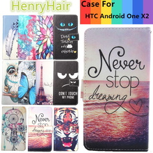 Top Selling 11 Colors Cartoon Painting PU Leather Magnetic clasp Wallet Cover For HTC Android One X2 Case(China)
