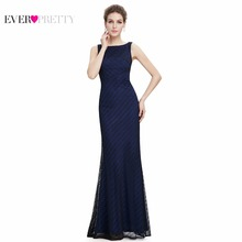 [Clearance Sale] Blue Black Prom Dress Ever Pretty HE08777BK Lace Women's Elegant Round Neck Long Black Prom Dress(China)