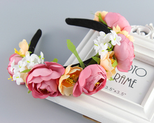Korean trendy New Women Rose Floral Flower Garland Crown Headband Hair Band Bridal Festival Holiday Girls Wreath(China)