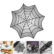 Hot Cute 76cm Halloween Tablecloth Black Spider Web Lace Mantle Party Home Decorative Table Cloth Background Decoration LXY9 DE1(China)
