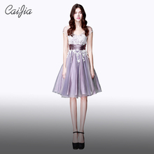 Caijia 2017 Lilac Junoesque Embriodery Cap Sleeve Of Applique Bowknot Ball Gown Short Cocktail Dresses With Pleats Ruching Sash(China)