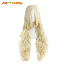 MapofBeauty Long Loose Wave Synthetic Hair 32 inch 80cm Ligth Blonde Wig Nautral Cosplay Girls Costume Party Womens False Peruca(China)