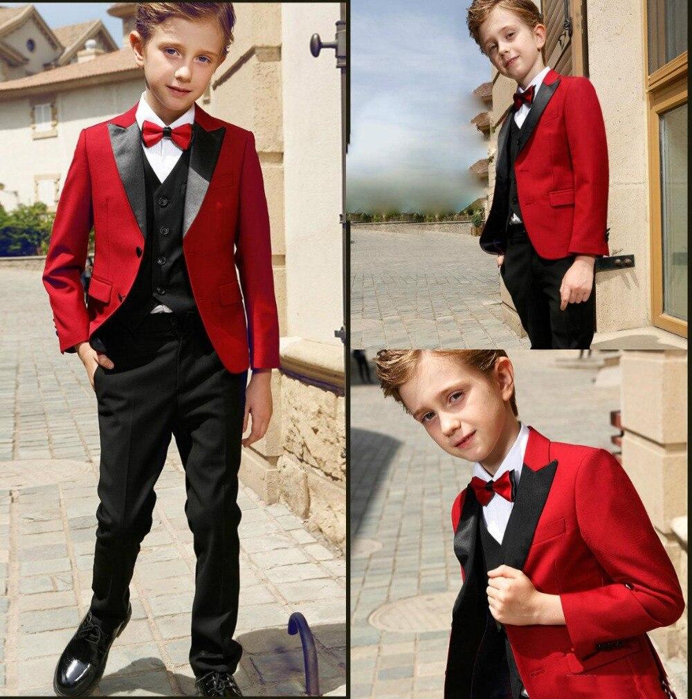 BOYS BLACK TUXEDO w//RED VEST WEDDING RING BOY BEARER 6