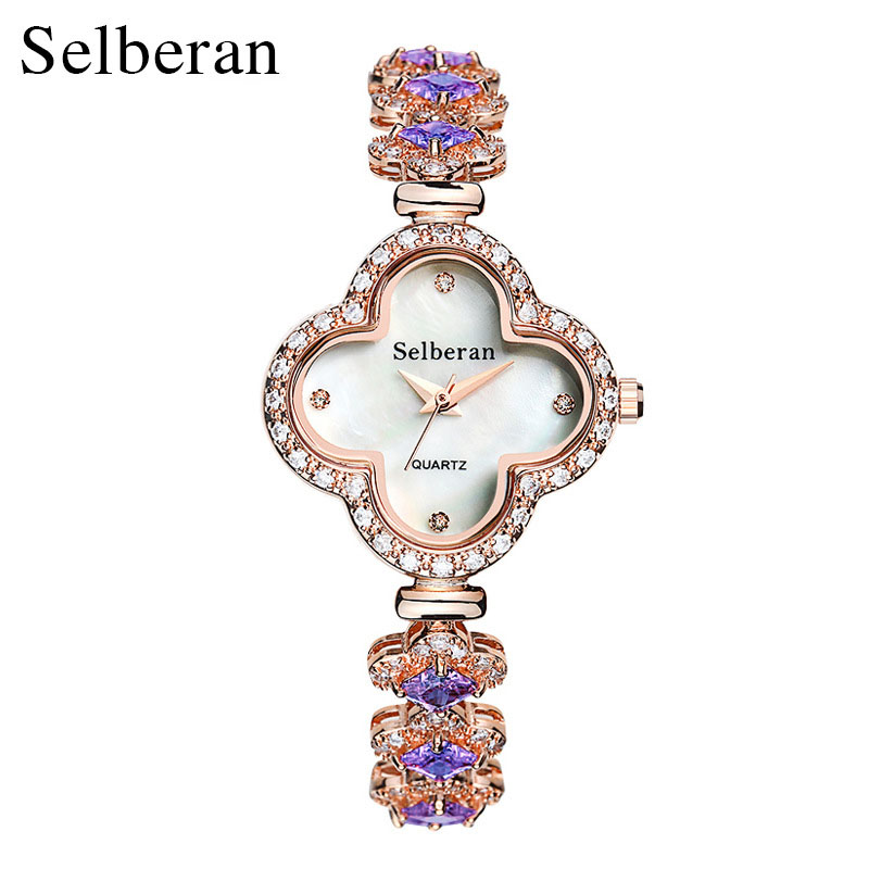 Selberan Super Fashion Clover Bracelet Watch for Women Ladies 50m Waterproof Wristwatches Best Gift for Mother/Girlfriend<br>