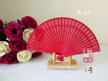 (50 pieces/lot) New Chinese sandalwood fans Promotional hand fans Fancy wedding favors 8 inches 7 colors available(China)