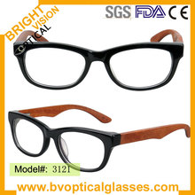 3121 new arrival acetate frame with wood temple eyeglasses eyewear with spring hinge prescription spectacles(China)