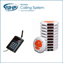 High Quality Long Range Wireless Fast Food Restaurant Table Pager Calling Systems (1 Keypad and 10 Coaster Pagers)