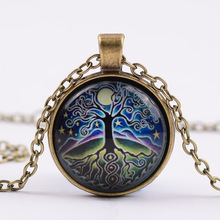 Tree of Life Glass Time Synthetic Gemstone Necklace Moon and stars Glass Imitation Gemstones Time Pendant Necklace G105