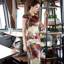 Classic Ladies Silk Satin Long Cheongsam Hot Sale Traditional Chinese Style Qipao Dress Clothing Size S M L XL XXL XXXL 368582(China)