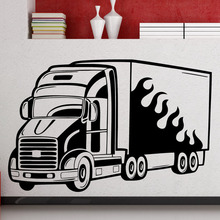 DCTOP Big Truck Wall Stickers Home Decor Living Room Cartoon Traffic Wall Decals For Kids Nursery Wall Decorative Sticker