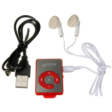 Professional Mini Music MP3 Player with USB Cable with Headphones Red