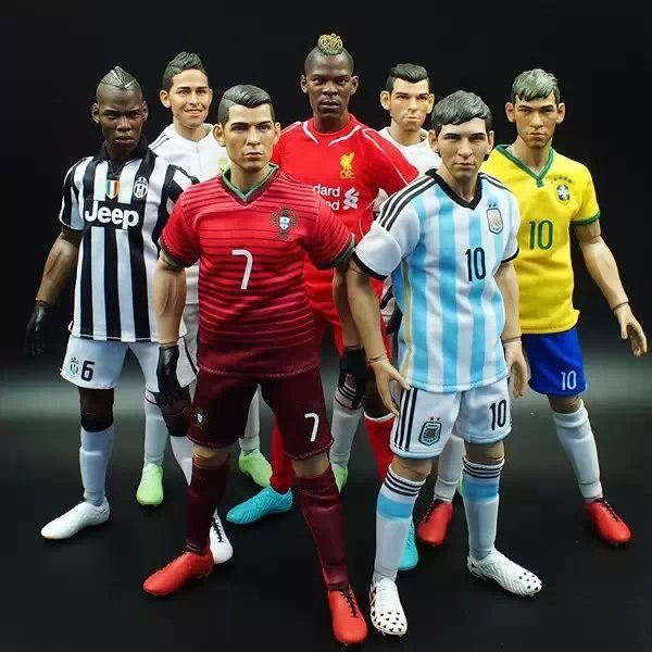HOT figure 1/6 toys football star male action figure C Ronaldo Messi 1/6 scales soldier moedl boy toy head + body + clothes(China (Mainland))