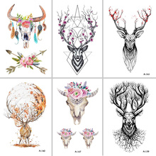 BEST Fran lcw113 NEW SIOZRE Temporary Tattoo For Women Tattoo Body Art 9.8X6cm Waterproof Hand Fake Tatoo Sticker Elk Animal(China)