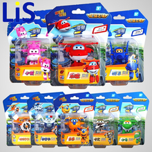 Lis 8PCS/Set Super Wings Mini Airplane ABS Robot toys Action Figures Super Wing Transformation Jet Animation Children Kids(China)