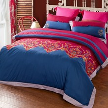 Wholesale of 2014 100% cotton vivid embroidery bedding set duvet cover flat sheet pillowcase/bed linen/quilt cover sets(QX301)
