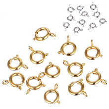20pcs/40pcs/50pcs 6-9mm High Quality Golden Silvery Spring Ring Clasps Connection For Necklace Bracelet DIY Buckle(China)
