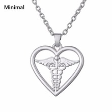 Minimal Sliver Color Hollow Heart Pendant Amulets Symbol of Medicine Delicate Angle Wings Knot Fasnion Jewelry For Woman
