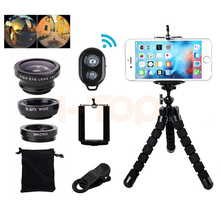 7in1 Phone Camera Lens Kit Fisheye Wide Angle Macro Lentes For iPhone 6 6s 7 8 Plus 5 5s Smartphone Tripod Bluetooth Shutter(China)