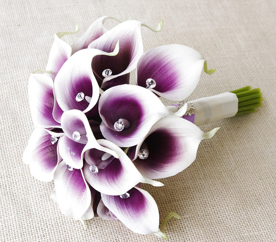 Silk Flower Wedding Bouquet - Purple Heart Calla Lilies Natural Touch with Crystals Silk Bridal Bouquet