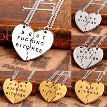 3 Styles Wholesales Gold/Silver Plated New Chic Best Bitches Best Friend Forever 2 Piece/3 Piece Broken Heart Pendant Necklace