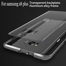 Original Bumper for Samsung Galaxy s8 plus case Metal Aluminium alloy frame transparent PC back phone cover for galaxy s8+edge