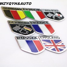 20pcs 3D Aluminum car Flag sticker accessories For VW/mazda/ mitsubishi/audi/hyundai /opel /skoda/ford LADA Renault car styling