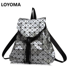 Women Backpacks Diamond Lattice Bucket String Bagpack Sequins Mirror Laser Women Bag Geometric Joint Black Rucksack School bag(China)
