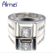 Almei 925 Sterling Silver Rings Men 2017 Fashion Punk Jewelry Cubic Zirconia Men's Engagement Wedding Ring Anel Masculino J473