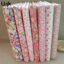 Urijk 7Pcs/Lot 25*25cm Mixed Flower Pink DIY Sewing Accessories Fabric For Patchwork Sewing Cloth Fabric Textile Doll(China)