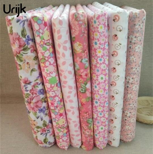 Urijk 7 шт./лот 2525 см смешанных цветов Розовый DIY Вышивание Аксессуары Ткань для пэчворка Вышивание ткань Ткань Текстиль Кукла(China)