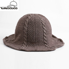 Autumn Winter Knit Warm Fishing Cap Sun Boonie Hat Solid Knitted Bucket Hat Bob Chapeau for Women Men panama Snow Fishermen Hat(China)