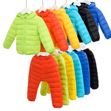 In the winter of 2017 children down jacket jacket ski suit pants children work shirt warm winter coat + Baby Bib 2 pieces(China)