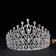Europe and rhinestone jewelry factory direct party bride wedding tiara headbands championship performances Large crown