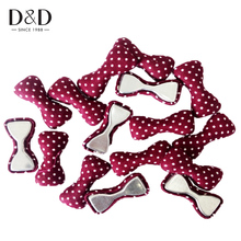 D&D 16pcs/Pack Fabric Covered Button Bowknot-liked with Color Dots Fabric Craft Buttons For Sewing Scrapbooking Supplies(China)