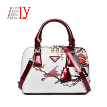 women leather handbags Popular flower pattern Women handbags shoulder bag ladies women's bags bolsas tote bag(China)