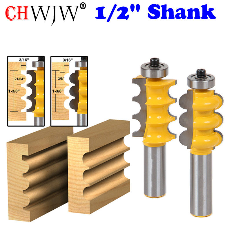 2PC 1/2 Shank Triple Bead &amp; Triple Flute Large Molding Router Bits Set Line knife Woodworking cutter<br>
