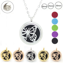 20mm 25mm 30mm magnetic butterfly design aromatherapy locket 316l stainless steel perfume locket diffuser necklace
