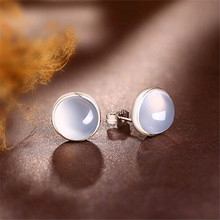 Genuine 925 Sterling Silver Round Natural Stone White Chalcedony Earrings For Women Crystal Stud Earings Classic High Quality