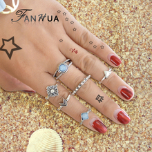 FANHUA 6 pcs/set Antique Silver Color Triangle Arrow Square Knuckle Ring Set Boho Chic Blue Beads Finger Rings Accessories(China)