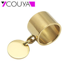 2017 Gold Color Party Rings for Women Wedding Rings Stainless Steel Pendant Tag Charm Rings Bagues Bijoux Laser engrave Logo(China)