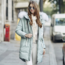 woman down filled garment with high quality feather, girl down coat in green blue color, keep very warm in cold winter(China)