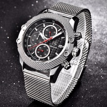Buy BENYAR Luxury Brand Sport Chronograph Watches Men Mesh Band Waterproof Military Quartz Watch Relogio Masculino dropshipping for $24.99 in AliExpress store