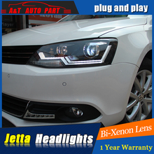 Auto Lighting Style LED Head Lamp for VW Jetta led headlights 2011-2014 Cob Line Volks Wagen drl H7 hi Lens low beam(China)